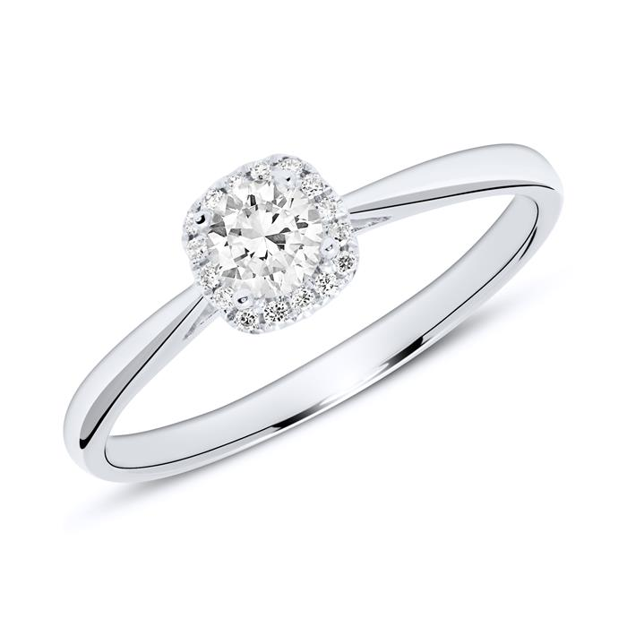 14K Weißgold Verlobungsring mit Diamanten
