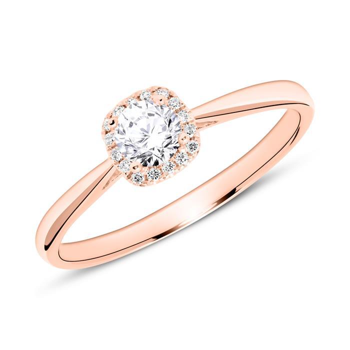 18K Roségold Verlobungsring mit Diamanten