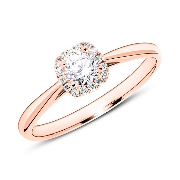 Ring aus 14K Roségold mit Diamanten