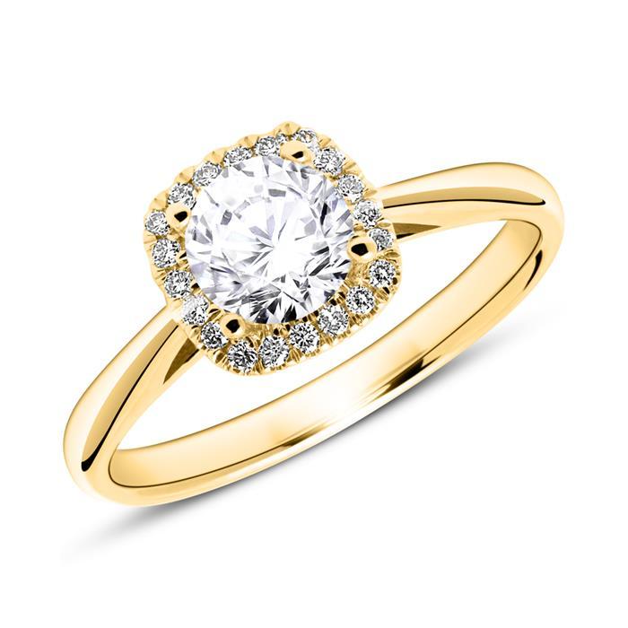585er Goldring mit Diamanten