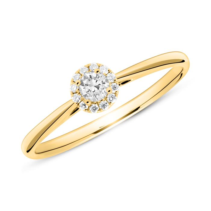 Haloring aus 585er Gold mit Diamanten