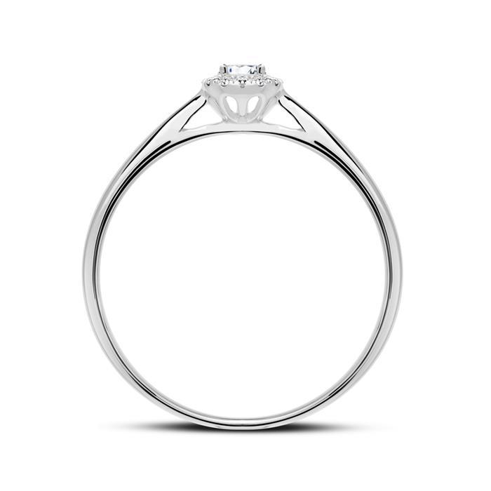 Haloring aus 585er Weißgold mit Diamanten