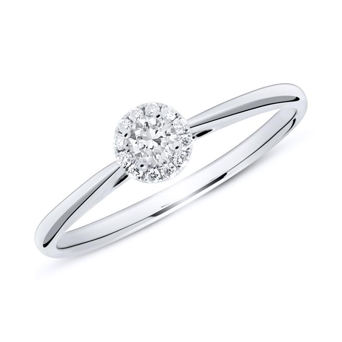 18ct White Gold Haloring With Diamonds