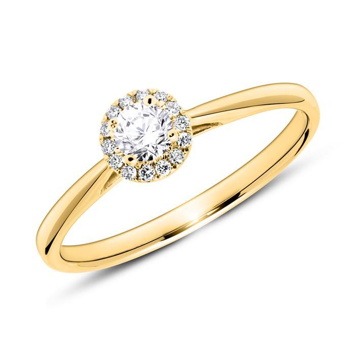 Verlobungsring aus 14K Gold mit Brillanten
