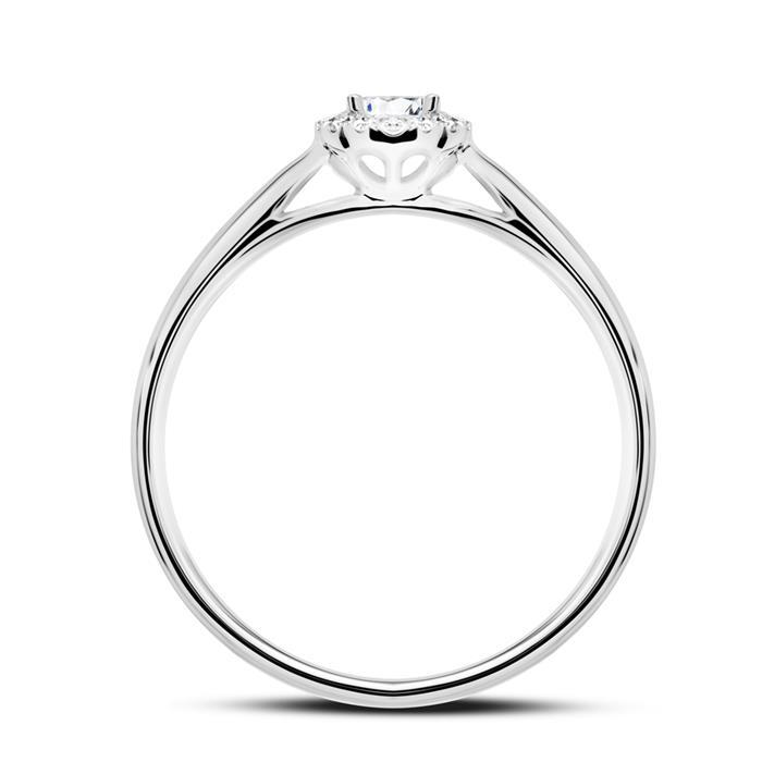 Verlobungsring aus 14K Weißgold mit Brillanten