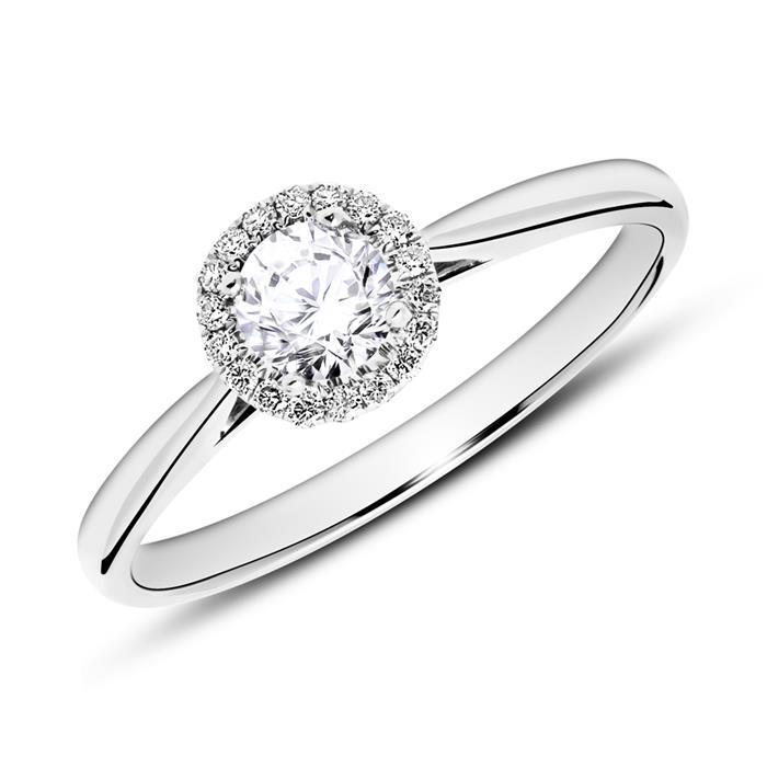 Verlobungsring aus 18K Weißgold mit Diamanten