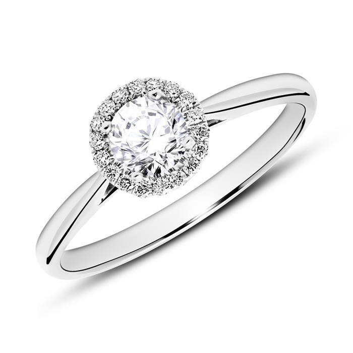 585er Weißgold Haloring mit Diamanten