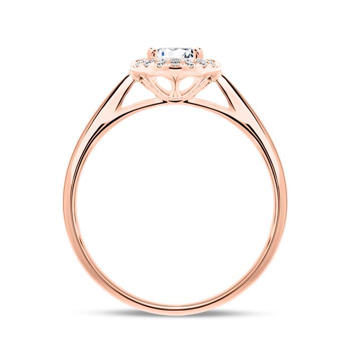 750er Roségold Haloring mit Diamanten
