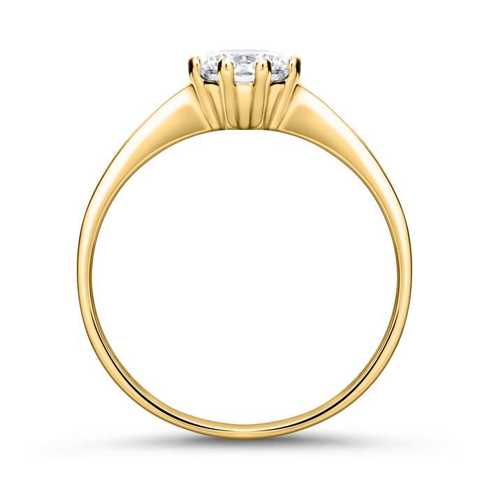 Verlobungsring aus 375er Gold mit Zirkonia