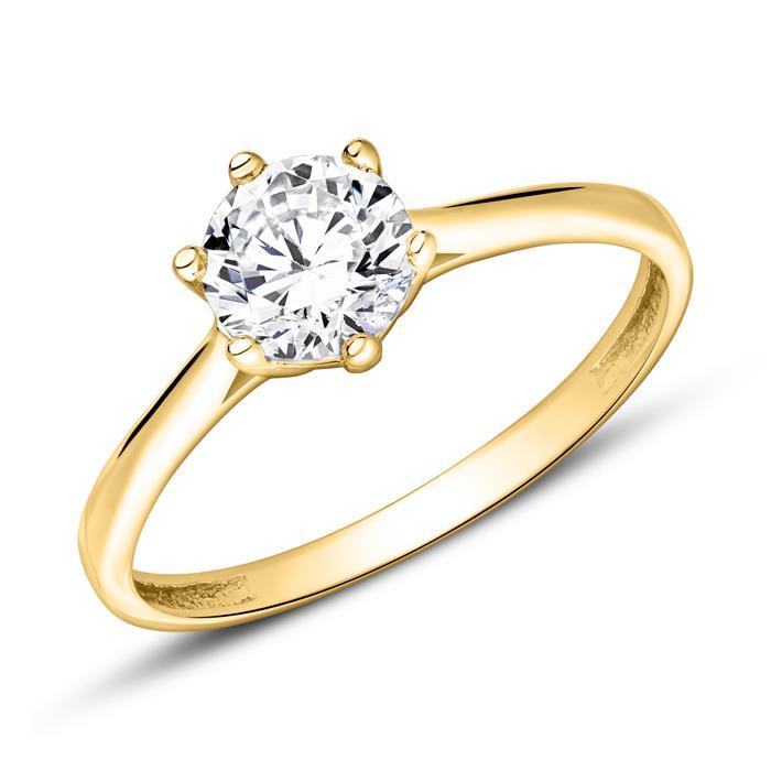 Zirkoniabesetzter Verlobungsring aus 9K Gold