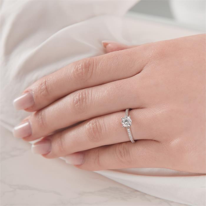 375er Weißgold Verlobungsring mit Zirkonia