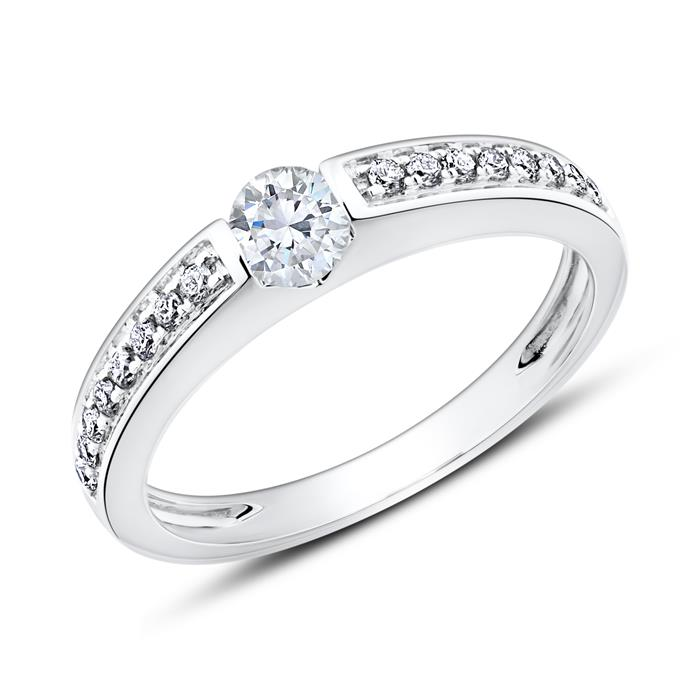 Unique 14k White Gold Engagement Ring With Diamonds Vr0516 14kwsl