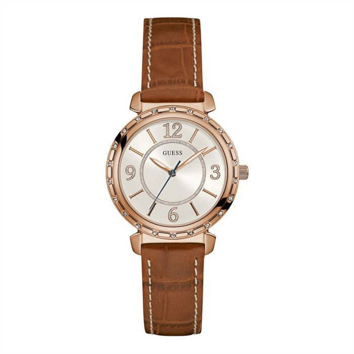 Ladies Watch Leather Strap Zirkonia Rose