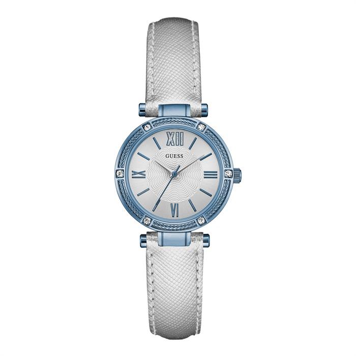 Uhr für Damen mit silbernem Lederband