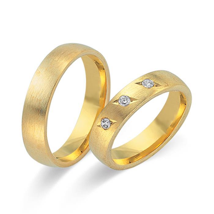 Eheringe 333er Gelbgold 3 Diamanten