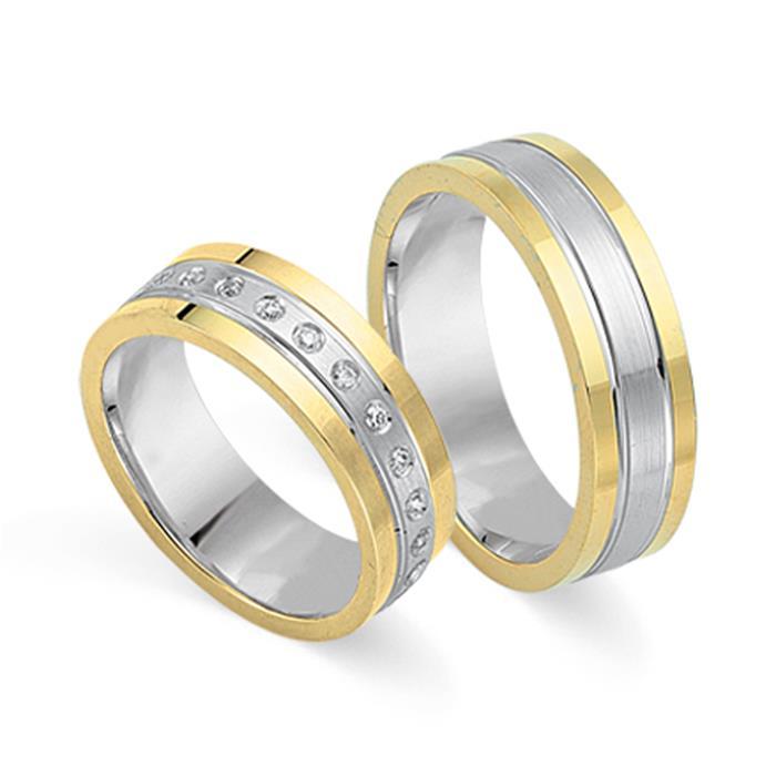 Trauringe 333er Gelb- Weissgold 24 Diamanten