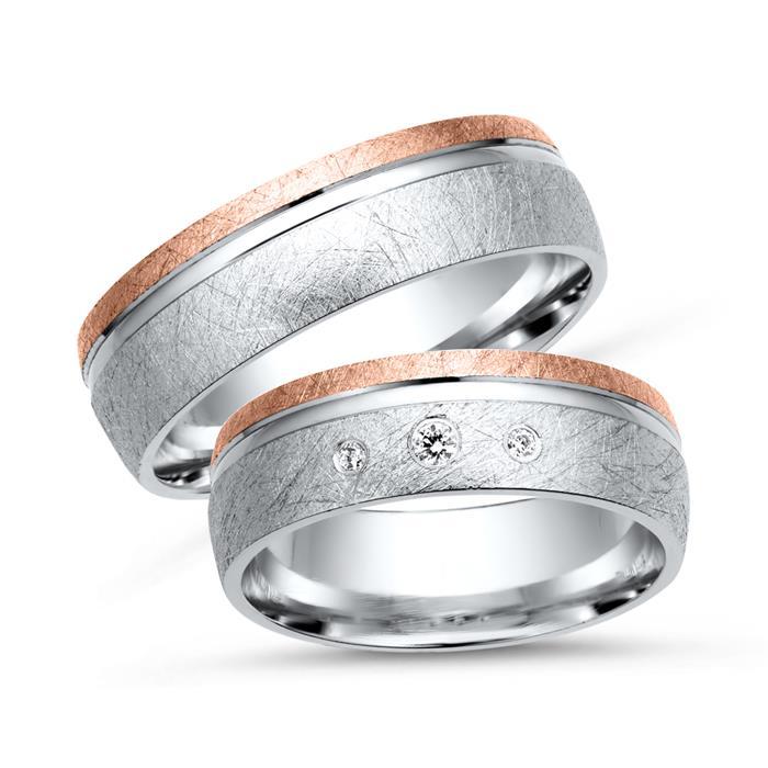 Trauringe 750er Weiss- Rotgold 3 Diamanten