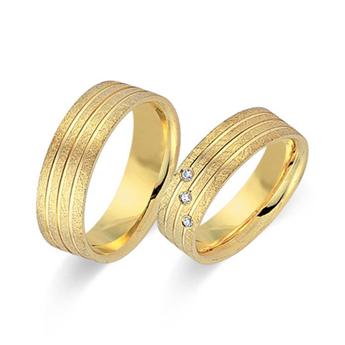 Trauringe 333er Gelbgold 3 Diamanten