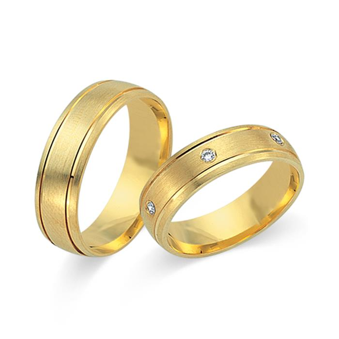 Eheringe 585er Gelbgold 6 Diamanten