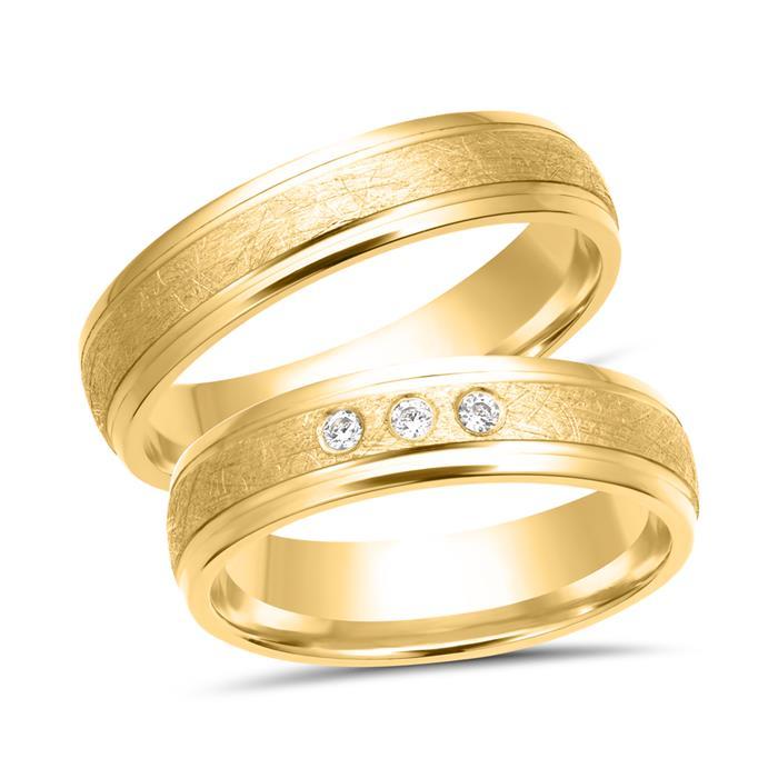 Wedding Rings 8ct Yellow Gold 3 Diamonds