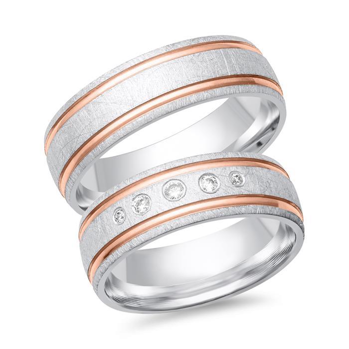 Trauringe 585er Weiss- Rotgold 5 Diamanten