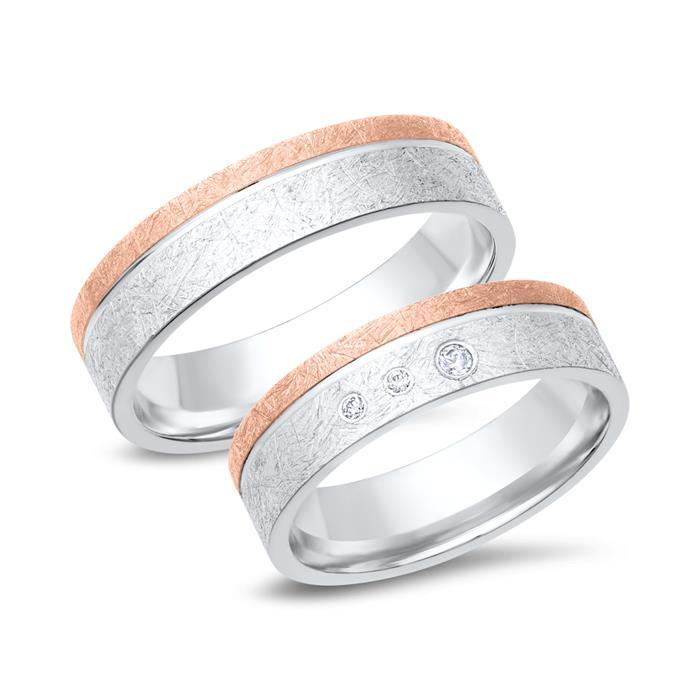 Eheringe 333er Weiss- Rotgold 3 Diamanten