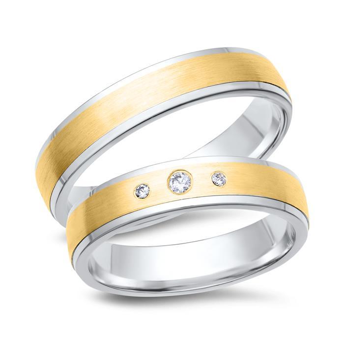 Eheringe 333er Gelb- Weissgold 3 Diamanten