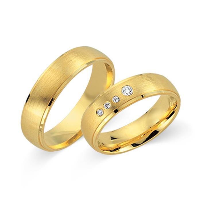 Eheringe 750er Gelbgold 4 Diamanten