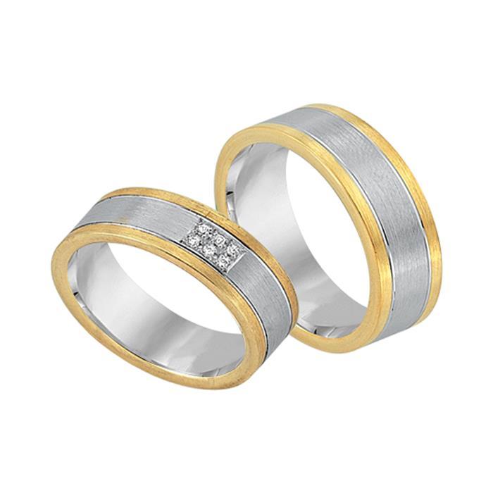 Trauringe 750er Gelb- Weissgold 6 Diamanten