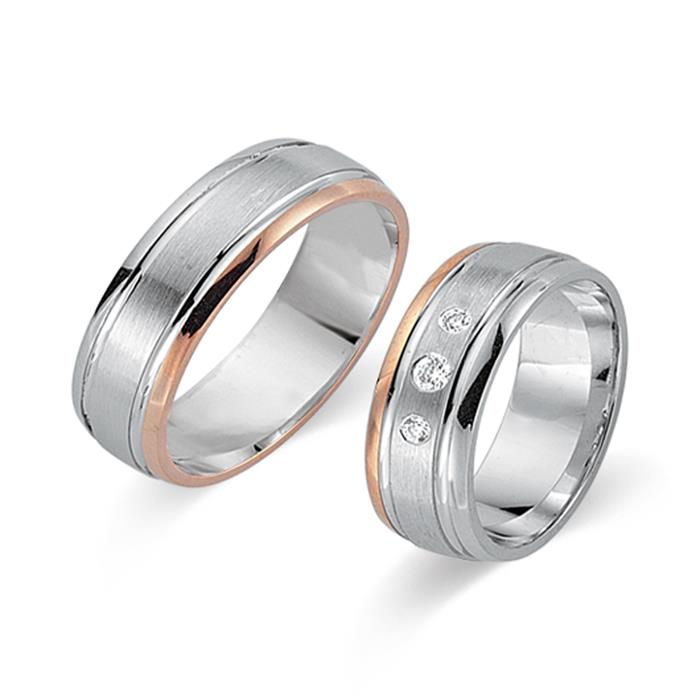 Eheringe 585er Weiss- Rotgold 3 Diamanten