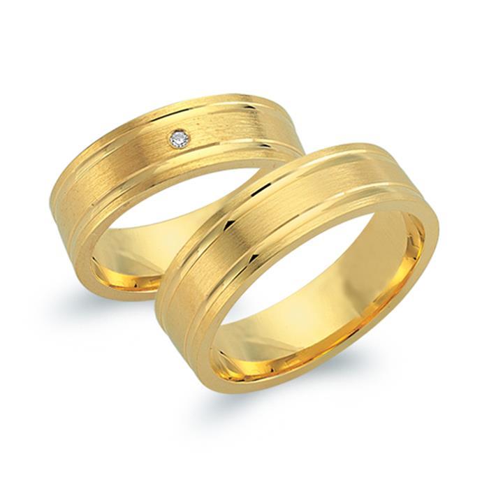 Eheringe 750er Gelbgold mit Diamant