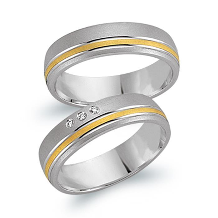 Trauringe 585er Gelb- Weissgold 3 Diamanten