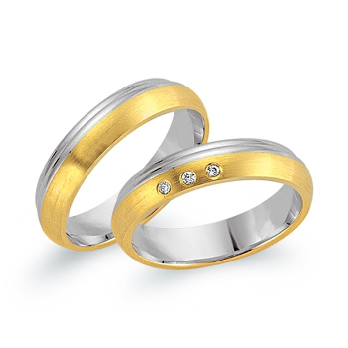 Trauringe 750er Gelb- Weissgold 3 Diamanten