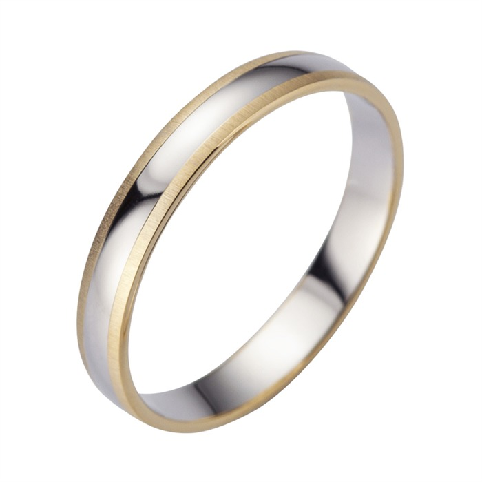 Eheringe Gelb- und Weißgold mit Diamant Breite 3,5 mm