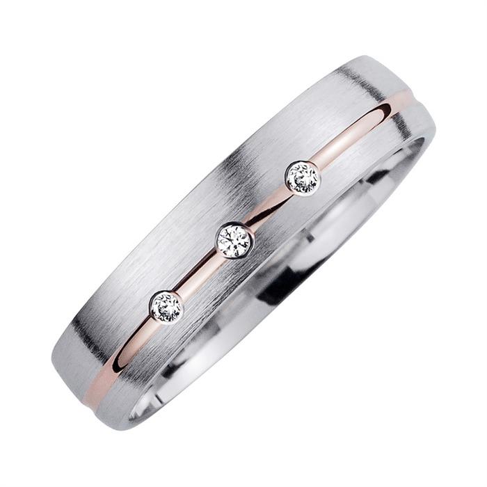 Eheringe Rot- und Weißgold mit Diamanten Breite 4,5 mm