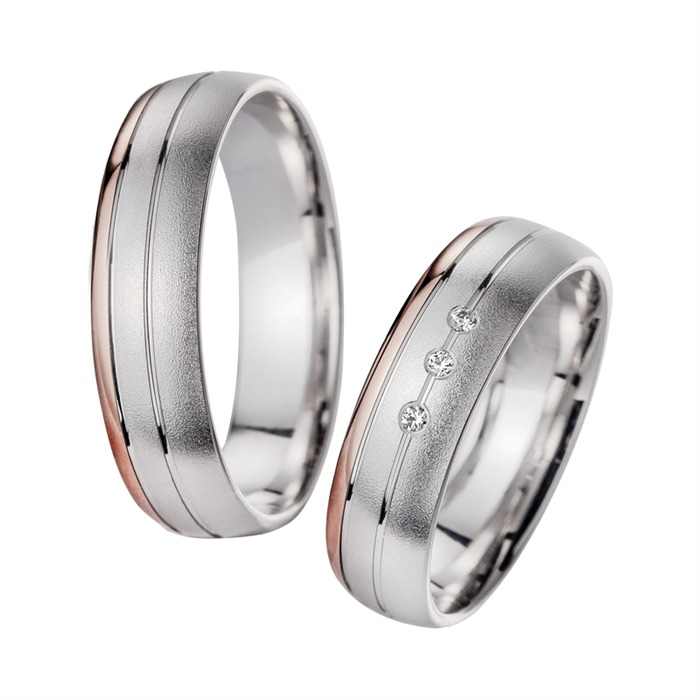 Eheringe Rot- und Weißgold mit Diamanten Breite 5,5 mm