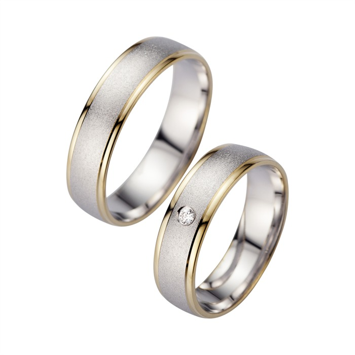 Wedding Rings Yellow And White Gold With Diamond Width 5.5 mm
