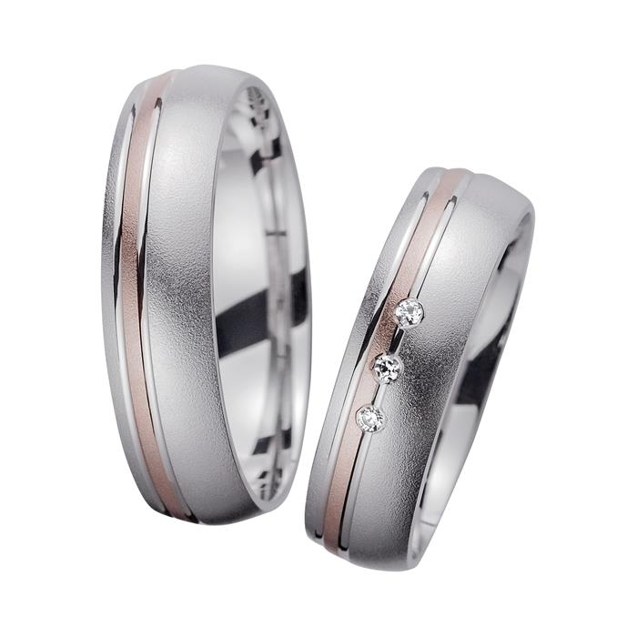 Wedding Rings Red And White Gold With Diamonds Width 5.5 mm