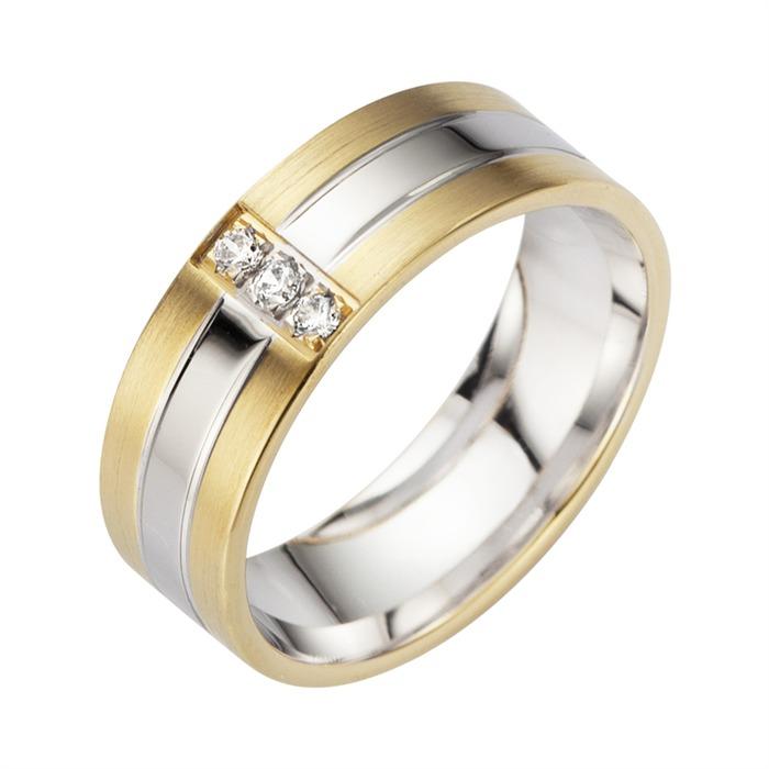 Eheringe Gelb- und Weißgold mit Diamanten Breite 6,5 mm