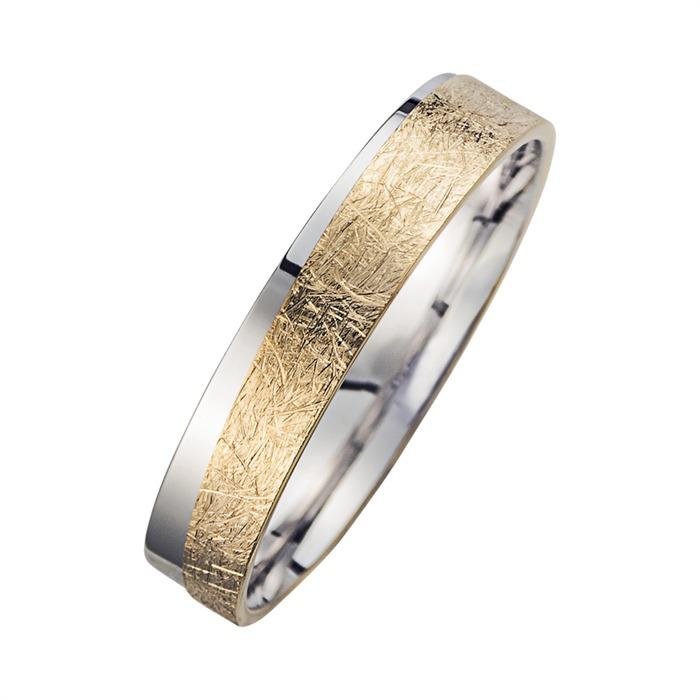 Eheringe Gelb- und Weißgold mit Diamanten Breite 4,5 mm