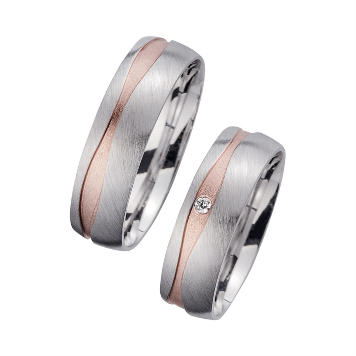 Wedding Rings Red And White Gold With Brilliant Width 6 mm