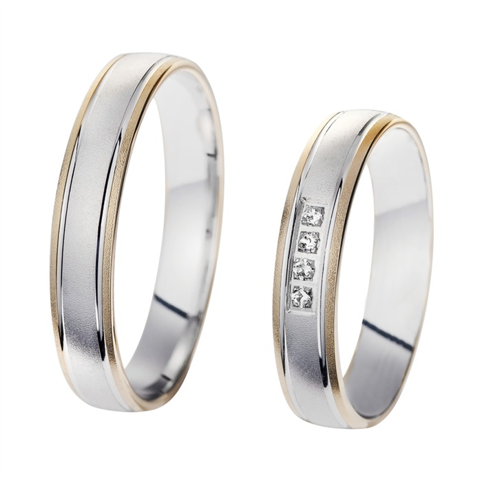 Wedding Rings Yellow And White Gold With Diamonds Width 4 mm