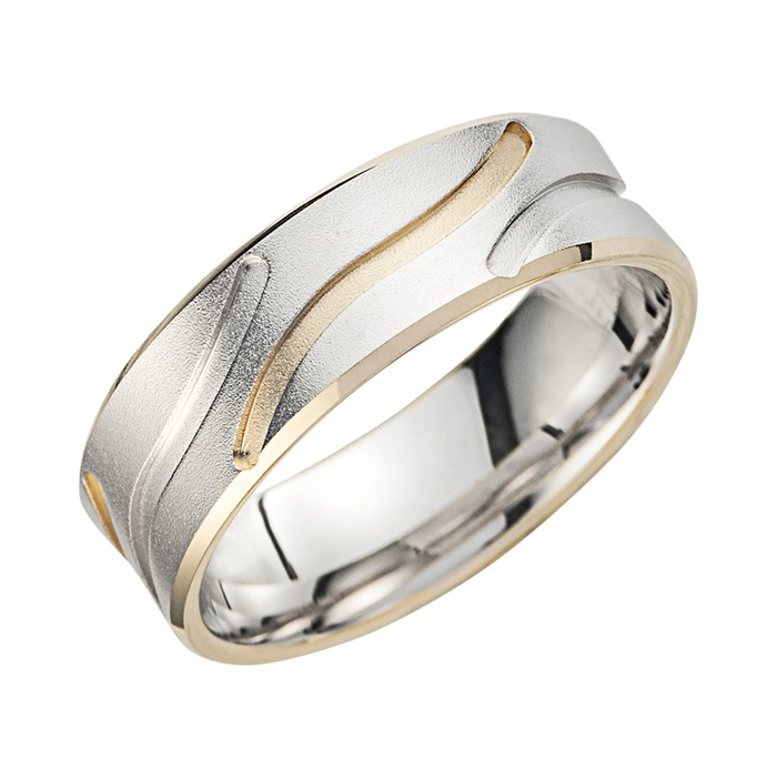 Eheringe Gelb- und Weißgold mit Diamanten Breite 7 mm