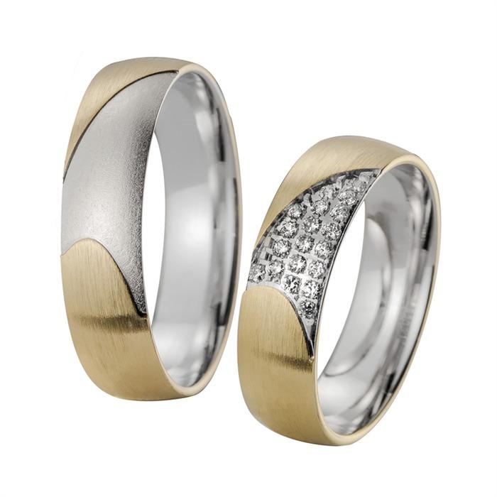 Eheringe Gelb- und Weißgold mit Diamanten Breite 5,5 mm