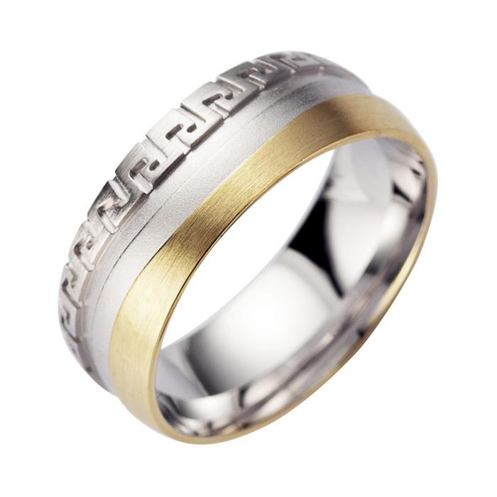 Eheringe Gelb- und Weißgold mit Diamanten Breite 8 mm