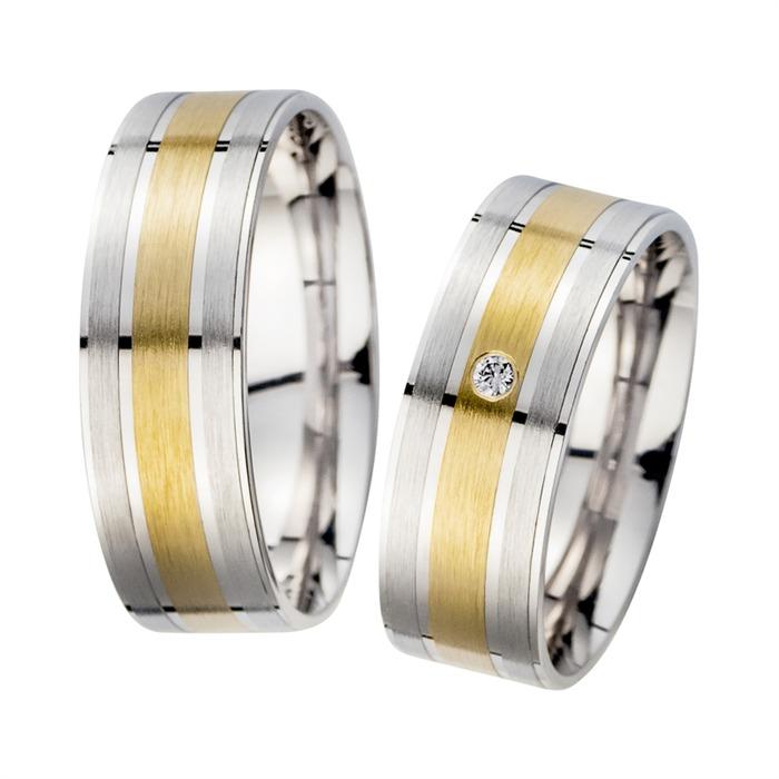 Eheringe Gelb- und Weißgold mit Diamant Breite 7 mm