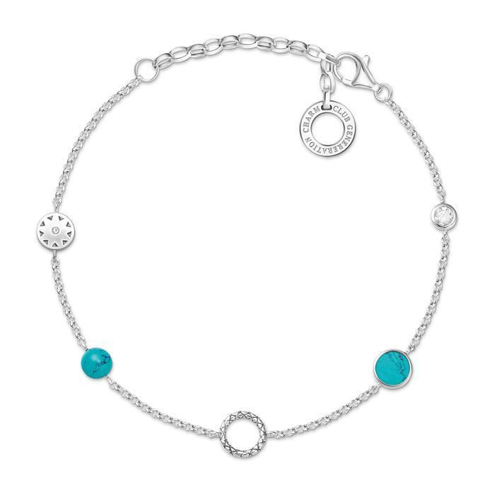 Charm Armband Türkise Steine aus 925er Silber