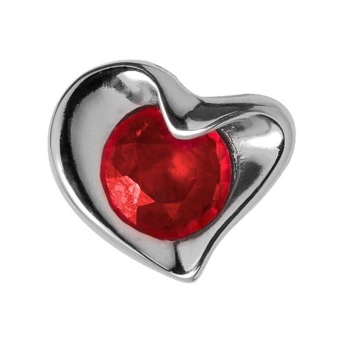 Silber Charm Ruby Heart
