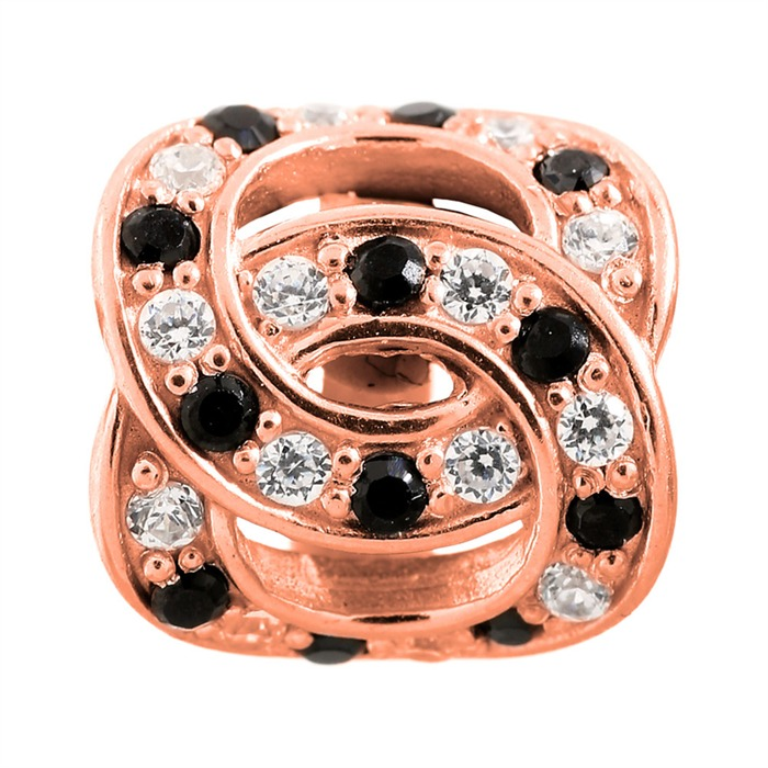 Double Love Rose Gold Charm 925er Silber