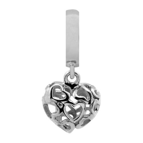 925er Silber Charm Heart Beat Love